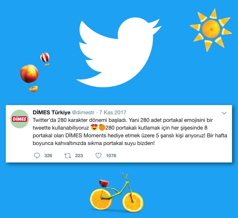 Twitter Karakter Limitini Artırdı, DİMES Gerçek Zamanlı Tüketici Kampanyası ile Kutladı